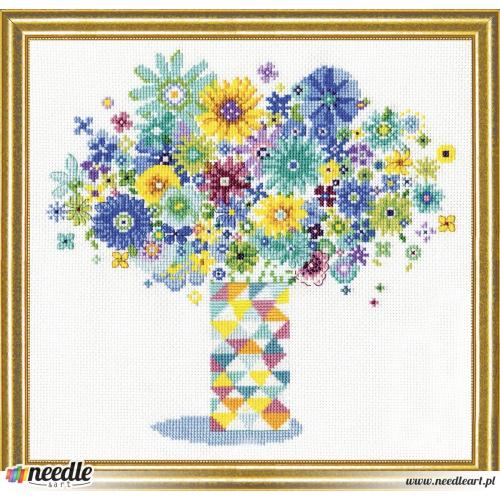 Blue Floral Quilt Vase