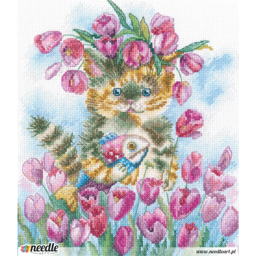 Cat, tulips and spring