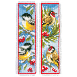 Birds In Winter - two bookmarks