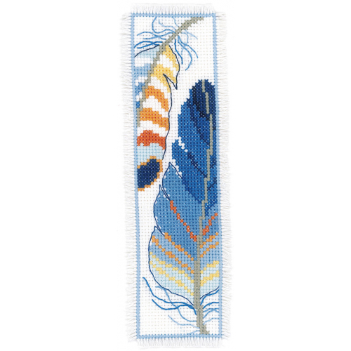 Blue Feathers - two bookmarks
