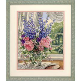 Peonies and Delphiniums