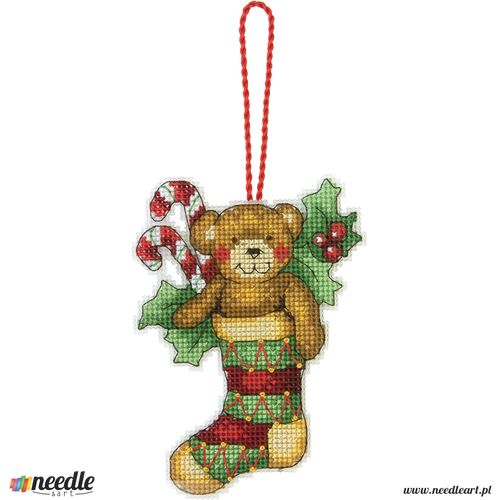 Bear Counted Cross Stitch Ornament