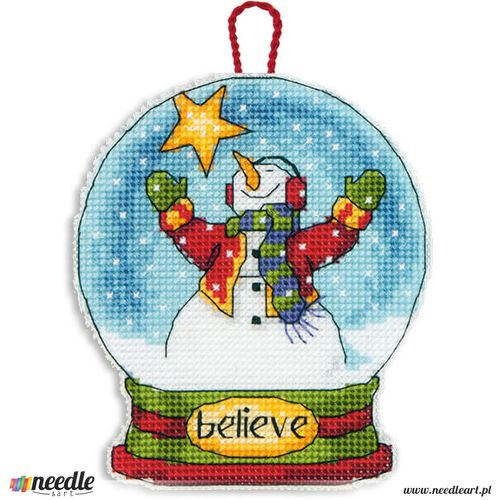 Believe Snow Globe Ornament in Counted Cross Stitch