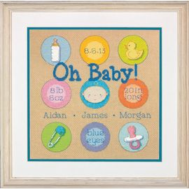 Baby Dots Birth Record Counted Cross Stitch Kit