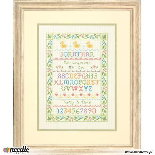 Alphabet Sampler Birth Record Counted Cross Stitch Kit