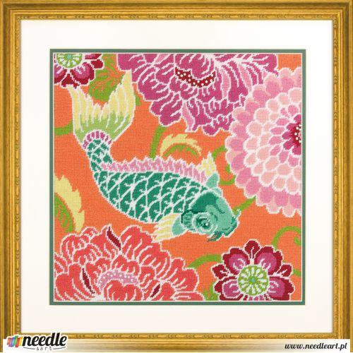Koi With Flowers Needlepoint