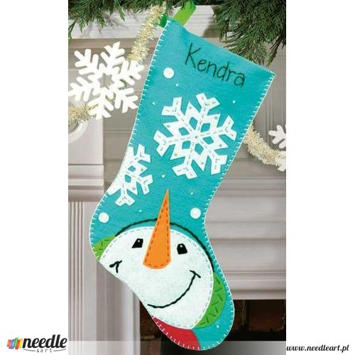 Catching Snowflakes Stocking in Felt Applique
