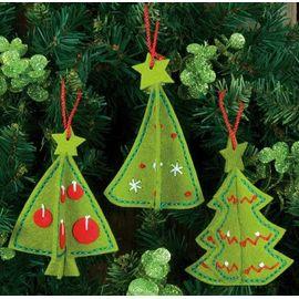 3D Tree Ornaments in Felt Applique