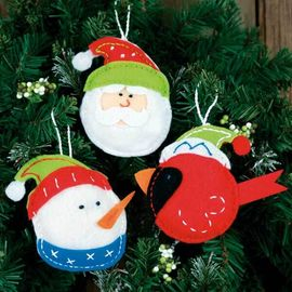 Holiday Trio Ornaments in Felt Applique