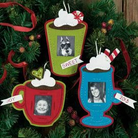 Framed Cocoa Cups Ornaments in Felt Applique