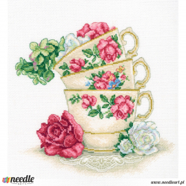 Cup of tea with rose leaves